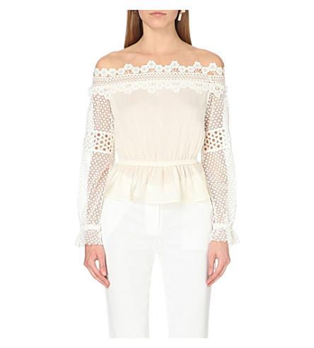 SELF-PORTRAIT Off-the-shoulder lace woven blouse (White