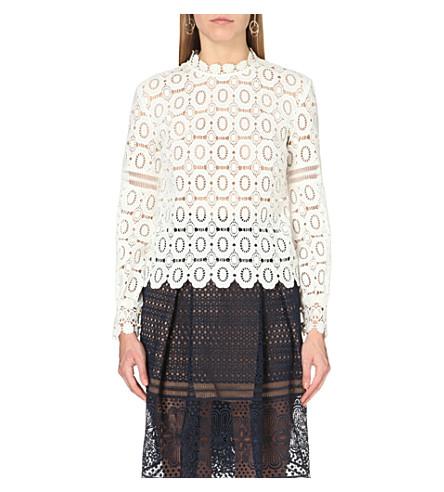 SELF-PORTRAIT Crochet lace top (Off white