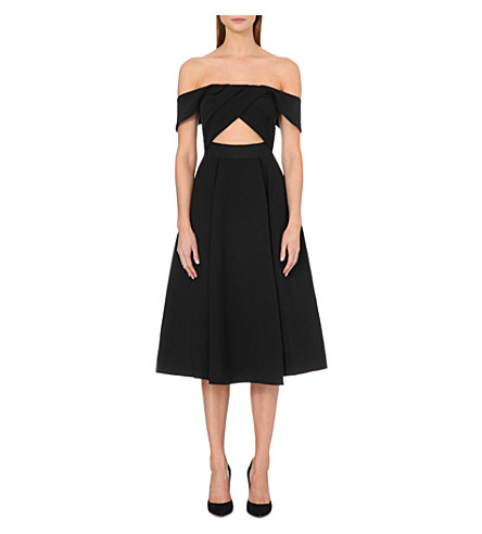 SELF-PORTRAIT Ayelette off-the-shoulder crepe dress (Black