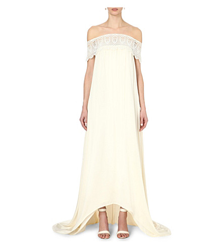 SELF-PORTRAIT Bardot off-the-shoulder wedding dress (Off+white