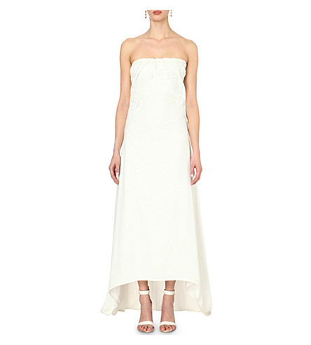 SELF-PORTRAIT Isabella lace and crepe wedding dress (White