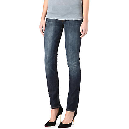 7 FOR ALL MANKIND Roxanne classic skinny mid-rise jeans (New+york+dark
