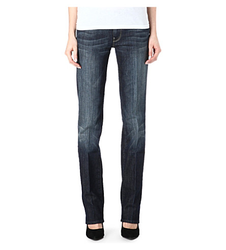 7 FOR ALL MANKIND Straight-leg mid-rise jeans (New+york+blue