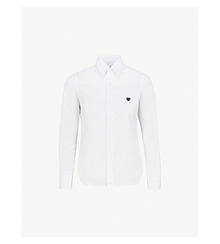 COMME DES GARCONS PLAY Embroidered-heart cotton shirt (White