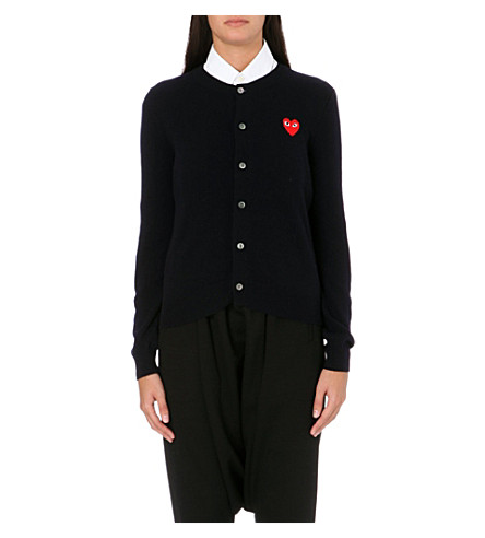 COMME DES GARCONS PLAY Embroidered-heart wool cardigan (Navy