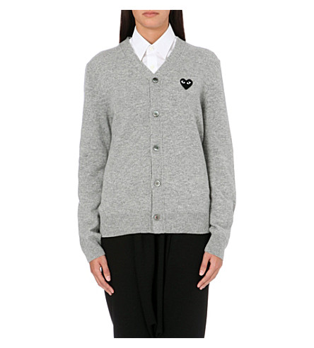 COMME DES GARCONS PLAY Embroidered-heart wool cardigan (Light+grey