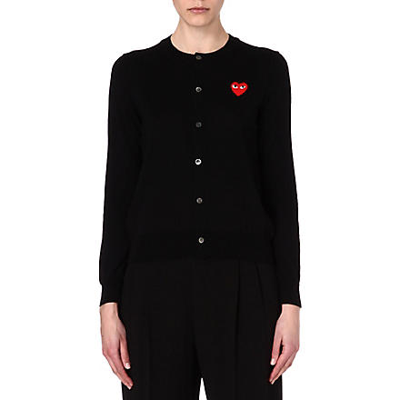PLAY Embroidered-heart wool cardigan (Black