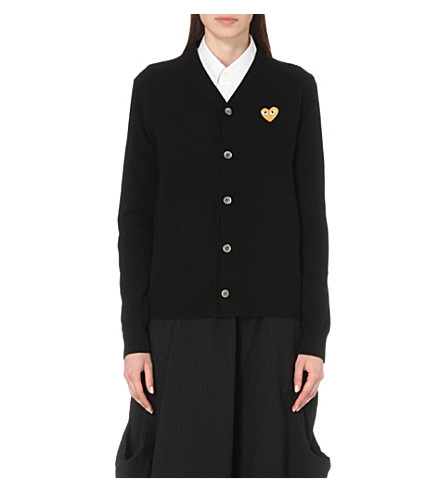COMME DES GARCONS PLAY Embroidered-heart wool cardigan (Black
