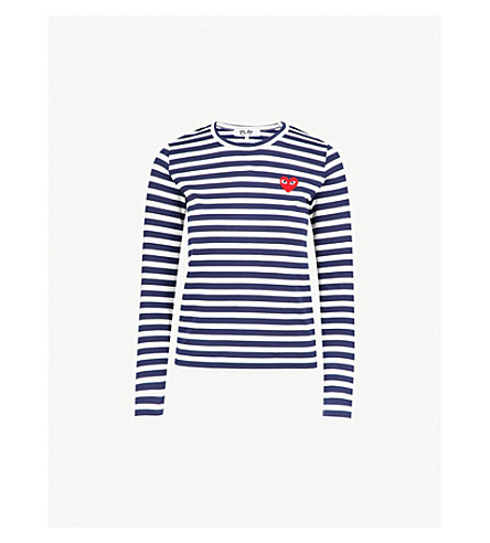 COMME DES GARCONS PLAY Heart-appliqué striped cotton-jersey top (Navy/white