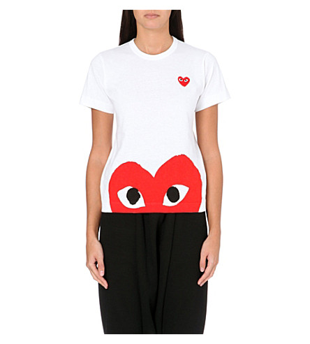 COMME DES GARCONS PLAY Heart-print cotton-jersey t-shirt (White