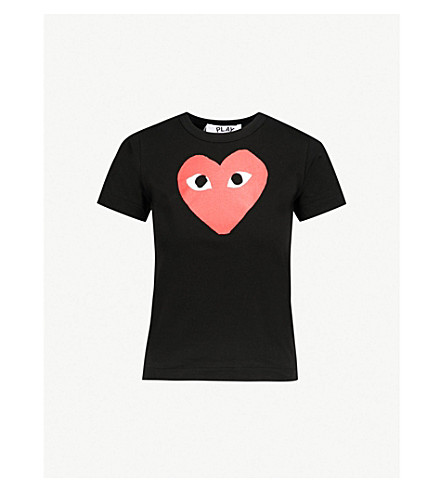 COMME DES GARCONS PLAY Heart-print cotton-jersey t-shirt (Black