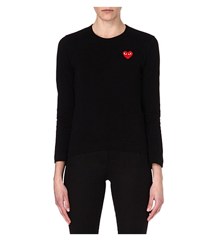 PLAY Heart motif long-sleeve top (Black