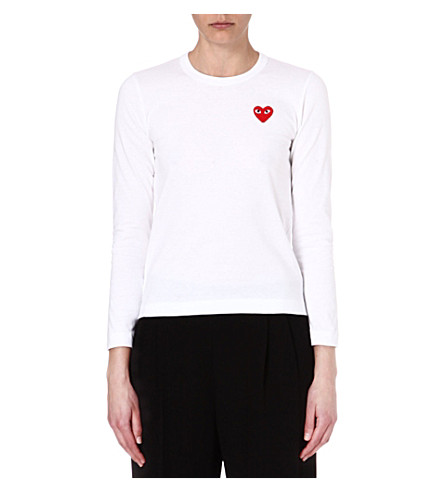 PLAY Heart motif long-sleeve top (White