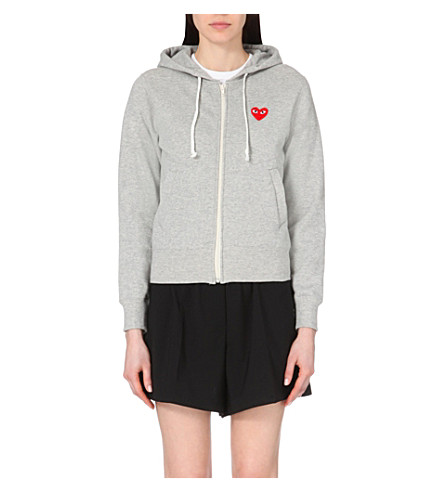 COMME DES GARCONS PLAY Embroidered-heart cotton-jersey hoody (Grey