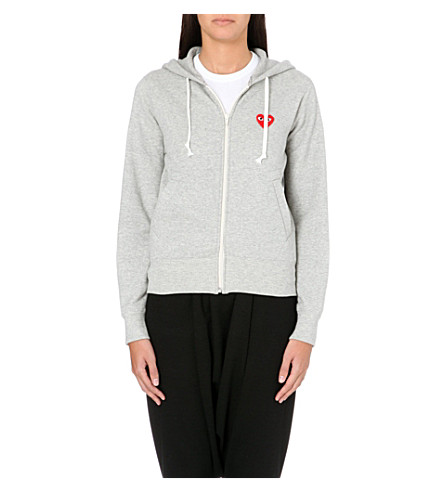 COMME DES GARCONS PLAY Embroidered-heart cotton-jersey hoody (Top+grey
