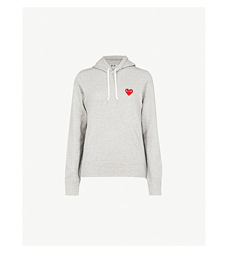 COMME DES GARCONS PLAY Heart-logo jersey hoody (Grey