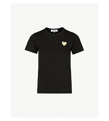 COMME DES GARCONS PLAY Embroidered-heart cotton-jersey t-shirt (Black