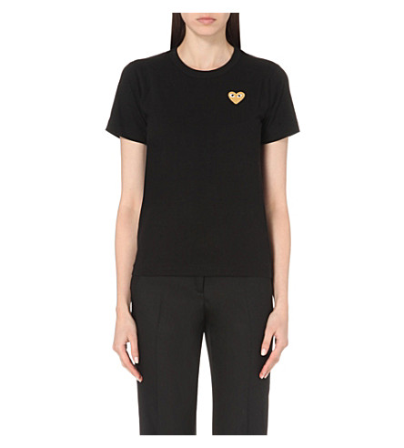 PLAY Embroidered-heart cotton-jersey t-shirt (Black