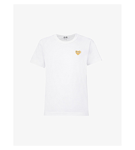 COMME DES GARCONS PLAY Embroidered-heart cotton-jersey t-shirt (White