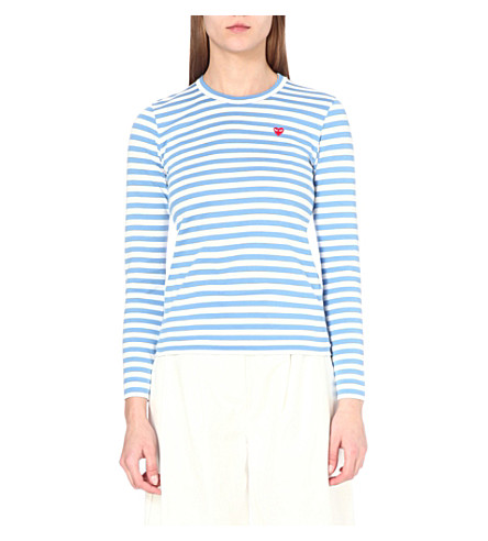COMME DES GARCONS PLAY Embroidered-heart cotton-jersey top (Blue