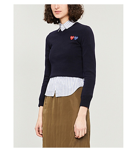 Cheap New Arrival Outlet Visit COMME DES GARCONS PLAY Heart-appliqué wool jumper Navy Outlet With Paypal Order Online Outlet Great Deals 0Mnx8Ct