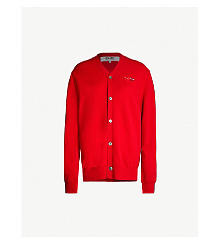 COMME DES GARCONS PLAY V-neck wool cardigan (Red