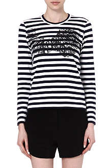 COMME DES GARCONS Squiggle-print striped top