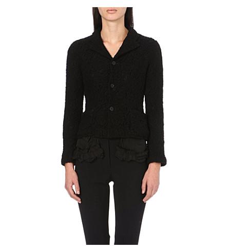 COMME DES GARCONS Ruffle-detail lace jacket (Black