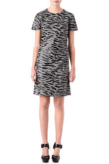 MCQ ALEXANDER MCQUEEN Tiger-print checked wool dress