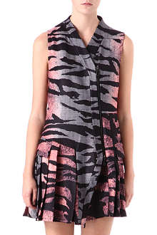 MCQ ALEXANDER MCQUEEN Tiger-print checked biker dress