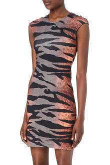MCQ ALEXANDER MCQUEEN Tiger-print checked pencil dress