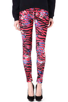 MCQ ALEXANDER MCQUEEN Floral and tiger-striped leggings