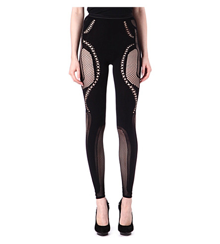 MCQ ALEXANDER MCQUEEN Mesh-panel leggings (Black