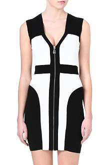 MCQ ALEXANDER MCQUEEN Colour-block zip detail bodycon dress