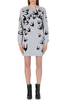 MCQ ALEXANDER MCQUEEN Swallow-print sweatshirt dress