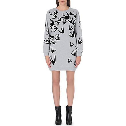 MCQ ALEXANDER MCQUEEN Swallow-print sweatshirt dress (Grey melange w/ black