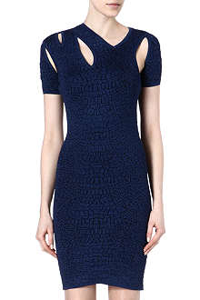 MCQ ALEXANDER MCQUEEN Croc-jacquard knitted dress