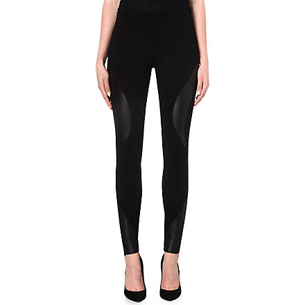 MCQ ALEXANDER MCQUEEN Engineered leather-panel leggings (Black