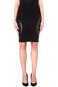 MCQ ALEXANDER MCQUEEN Engineered leather-panel jersey skirt