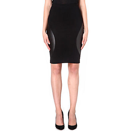 MCQ ALEXANDER MCQUEEN Engineered leather-panel jersey skirt (Black