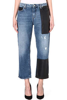 MCQ ALEXANDER MCQUEEN Faux leather-patch boyfriend mid-rise jeans