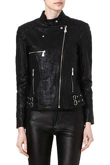 MCQ ALEXANDER MCQUEEN Creased leather biker jacket