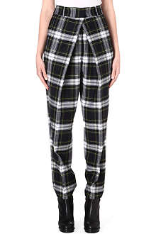 MCQ ALEXANDER MCQUEEN Pleated-front tartan wool trousers