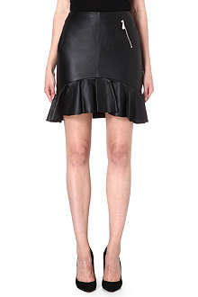 MCQ ALEXANDER MCQUEEN Flared-hem leather skirt