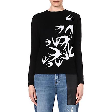 MCQ ALEXANDER MCQUEEN Swallows wool jumper (Off white/black