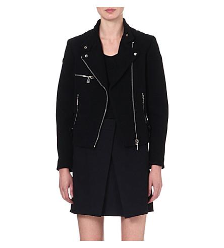 MCQ ALEXANDER MCQUEEN Cropped wool-blend biker jacket (Black