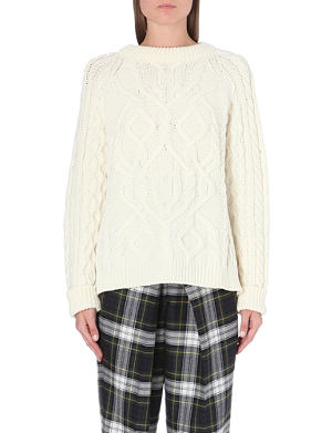 MCQ ALEXANDER MCQUEEN Cable-knit wool and cashmere-blend jumper