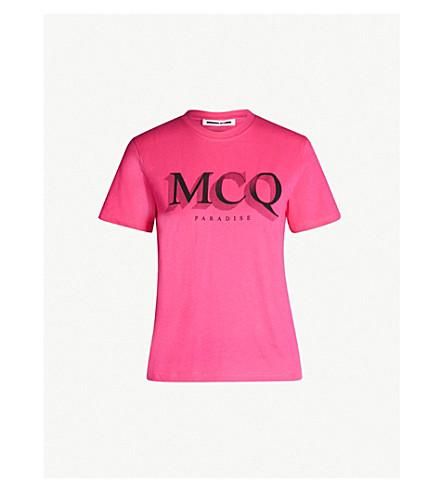 MCQ ALEXANDER MCQUEEN Band cotton-jersey T-shirt (Acid pink