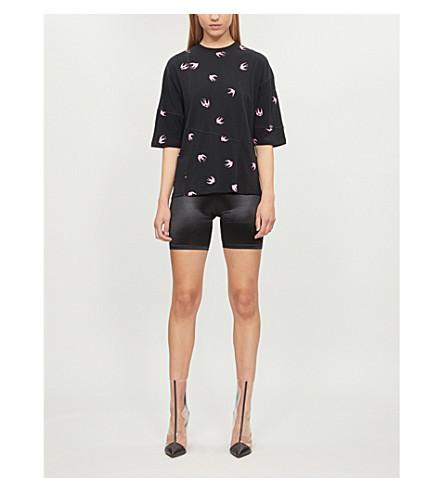 MCQ ALEXANDER MCQUEEN Swallow-print cotton-jersey T-shirt (Darkest black/pi