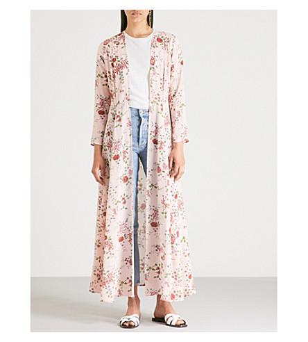 WE ARE LEONE Floral-print silk maxi cardigan